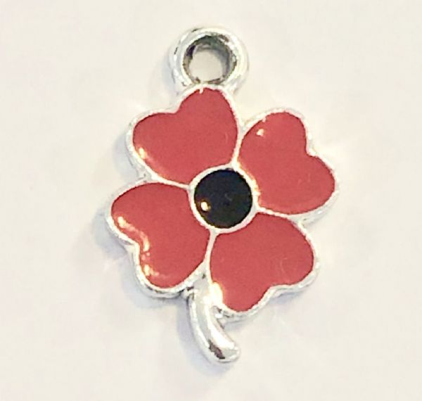 Poppy charms - 20mm x 12mm